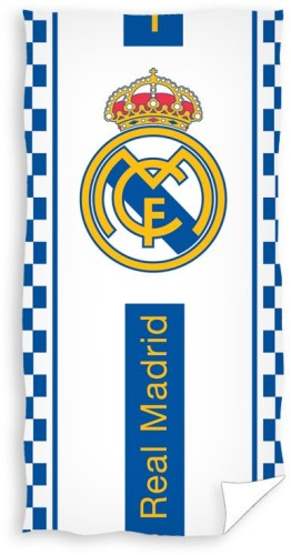 Badlaken Real Madrid wit/blauw blocks: 70x140 cm