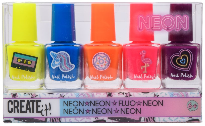 Nagellak Create It neon: 5-delig (84162)