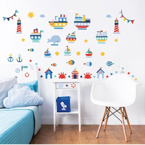 Muursticker scheepvaart Walltastic: 66 stickers (44845)