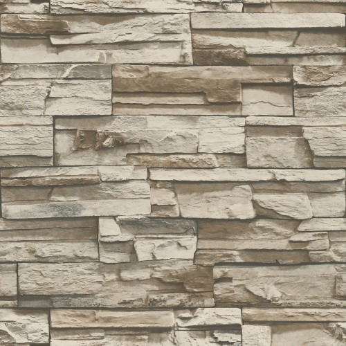 Stickerbehang PS Decor: Stacked Stone GreyBrown (RMK9025WP)